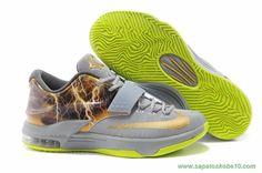 "Nike KD VII ""Thunder"" KDVII-025 Cinza Amarelo"