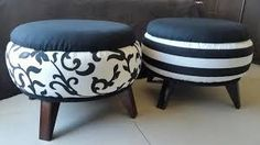 Stools out of old tires Tire Furniture, Upcycled Furniture, Handmade Furniture, Furniture Design, Home Crafts, Diy Home Decor, Diy And Crafts, Recycled Crafts, Tire Ottoman