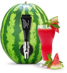 Definitely getting one for summer parties. A very cool centerpiece. Fruit Keg Tapping Kit. Tap seasonal drinks straight from the source with this easy-to-use kit that turns summer melons and pumpkins into all-natural kegs.