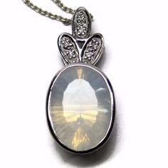 Vintage 14K White Gold Faceted Moonstone Diamond Pendant Necklace