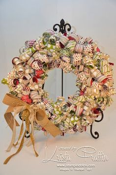 """Stampin' Dolce: Christmas paper wreath, 12"""" styrofoam wreath shape, 1/2"""" X 12"""" strips pinned on w/straight pins"""