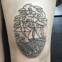 (at Alchemy Tattoo) Line Work Tattoo, Line Tattoos, Body Art Tattoos, Tattoo Drawings, Sleeve Tattoos, Ship Tattoos, Tattoo Sketches, Tatoos, Badass Tattoos