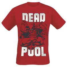 """Classica T-Shirt uomo rossa """"Deadpool"""" dedicata all'omonimo supereroe della #Marvel con ampia stampa frontale."""