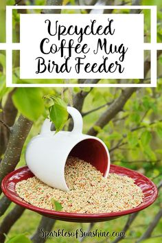 Learn how to make an upcycled coffee mug bird feeder, perfect for spring or any time of year!