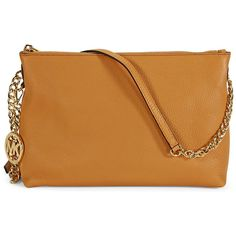 Michael Kors Jet Set Chain Top Zip Messenger - Peanut ($100) ❤ liked on Polyvore featuring bags, messenger bags, courier bags, brown bag, chain bag and zip top messenger bag
