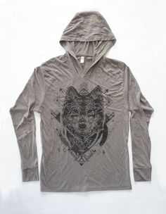 e0373f53105 Painted Gray Wolf Hoodie - Charcoal Black Halftone Screenprint on a  Venetian Gray Colored Hoodie