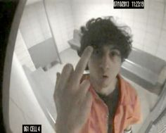 An image of convicted Boston Marathon bomber giving the middle finger to a security camera while in custody has been made public.   The Government Shows Photo Of Tsarnaev Giving The Finger At Boston Bombing Trial - BuzzFeed News