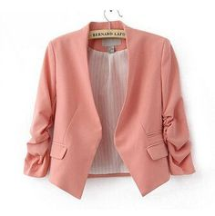Women Blazers, Three Quarter Sleeves, Yellow, Pink, Black, Blue