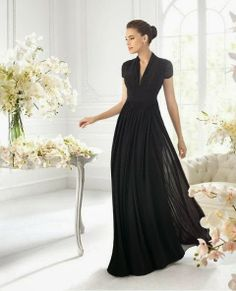 Beautiful Black Chiffon A-line Dress