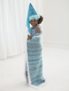 This Ice Princess Throw was inspired by the movie Frozen. Crochet it now with Homespun and Fun Fur.  Makes a great cape AND afghan.