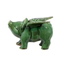 Ceramic Green Flying Pig | Overstock.com Shopping - The Best Deals on Accent Pieces
