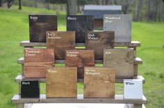 This listing is for 5 stain swatches finished on blocks of reclaimed wood. Please note which colors you would like in notes section at checkout. Available finish colors: Kona Ebony Weathered Grey Early American Dark Walnut Traditional Cherry American Walnut Ash Wheat Golden Mahogany Provincial Golden Oak Rustic Sage Worn Navy Black White White Wash Custom Don't see a color you want? Let us know what you are looking for and we will do our best to make exactly what you want! Thanks for ch...