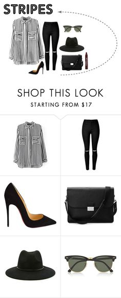 """""""stripes"""" by mariacostaaa ❤ liked on Polyvore featuring Christian Louboutin, Aspinal of London, Forever 21, Ray-Ban and stripes"""