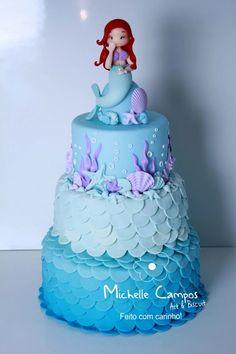 55 Ideas for baby shower girl cake one layer Little Mermaid Cakes, Mermaid Birthday Cakes, Little Mermaid Birthday, Little Mermaid Parties, Birthday Cake Girls, Birthday Ideas, Sirenita Cake, Bolo Fake Eva, Bolo Fack