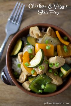 Chicken and Vegetable Stir Fry | This dish has lots of crisp, colorful veggies, and a nice light sauce. You can choose your favorite veggies to add. @Kristin Bergthold | Yellow Bliss Road