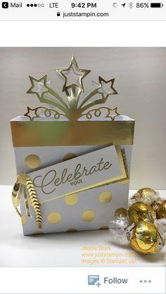 Celebrate You gift bag using Stampin' Up! Star Blast Edgelits Dies and Birthday Blast Stamp Set with Heat Embossing. Birthday Blast, Star Cards, Exploding Boxes, Handmade Birthday Cards, Stamping Up, Gift Packaging, Stampin Up Cards, Craft Gifts, Cardmaking