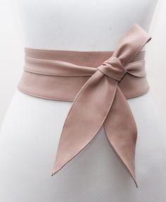 Nude Leather Obi Belt tulip tie Wedding Outfit  by LoveYaaYaa
