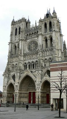 West facade of the cathedral of Notre-Dame d'Amiens. This cathedral was built between 1220 and 1236. Amiens the tallest completed Gothic church and the largest cathedral in France    http://www.flickr.com/photos/overton_cat/4824801346/