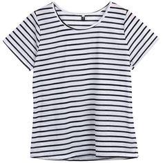 Hoyod Women's Round Neck Black and White Striped Short Sleeve Shirt... (21 RON) ❤ liked on Polyvore featuring tops, t-shirts, t shirt, stripe t shirt, black white striped shirt, striped tee and round neck t shirt