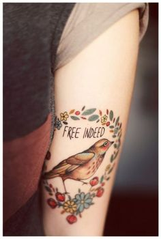 Art idea, not tattoo idea.  ;)  Like the vintage bird/flowers style.