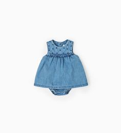 Embroidered denim dress-DRESSES AND ROMPER SUITS-MINI | 0-12 months-KIDS | ZARA United States