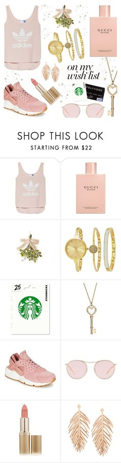 """#PolyPresents: Wish List"" by piedraandjesus on Polyvore featuring adidas, Gucci, SO & CO, NIKE, Oliver Peoples, L'Oréal Paris, contestentry and polyPresents"