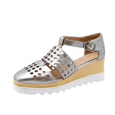 Latasa Womens Chic Summer Hollow Out Square-Toe Platform Mid Wedge Sandals, T Strap Fisherman Sandals * Be sure to check out this awesome product.