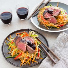 Easy seared venison with plum ginger sauce and vermicelli noodles - the perfect recipe for a light fresh dinner Dairy Free Quick Meals, Dairy Free Recipes, Meat Recipes, Salad Recipes, Dinner Recipes, Cooking Recipes, Game Recipes, Healthy Recipes, Vermicelli Salad