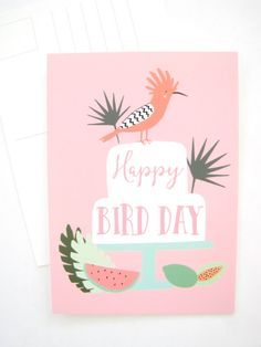 Happy Bird Day birthday postcard 5 x 7 Blank by AthenaandEugenia