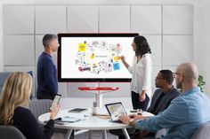 What's big, red, and supposed to be the next big thing in workplace collaboration? Google's new Jamboard, a massive touch display and accompanying cloud service that's supposed to help business users brainstorm together.