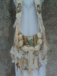 Handmade Boho Cross Body Bag Fringe Vintage Lace Gypsy Shabby Chic Purse tmyers #Handmade #MessengerCrossBody
