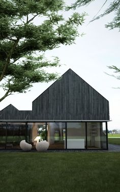 The project is commissioned by a Belgian customer wishing to settle in France in order to live a happy retirement by the sea. The project is divided into 2 parts: one is to renovate an existing farm building to create. Modern Barn, Modern Farmhouse, Contemporary Barn, Residential Architecture, Modern Architecture, Timber Cladding, Timber House, Black House, House In The Woods