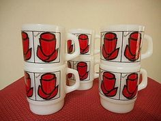 Fire King / Anchor Hocking D Handled Mugs Red Rose