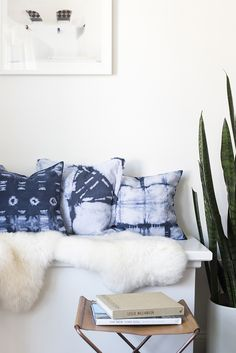 shibori pillows, camp stool, plant