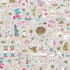 Gallymoggers Reynard, a delightful conversational print from the new Alice in Wonderland themed Spring Summer 2015 Collection by Liberty Art Fabrics. 'Was I the same when I got up this morning? I ...