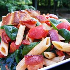 Penne Pasta with Spinach and Bacon   Have made this twice, it's great, I added chicken to for more protein. Serve hot or cold.