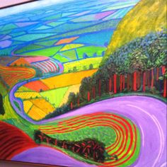 (UK) Landscape by David Hockney ). oil on canvas. David Hockney Landscapes, David Hockney Artist, David Hockney Paintings, Landscape Drawings, Abstract Landscape, Landscape Paintings, Watercolor Paintings, Encaustic Painting, Pop Art