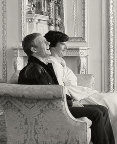 Giggling in Buckingham Palace. Sherlock and Watson.  Benedict Cumberbatch and Martin Freeman.