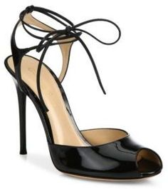 Gianvito Rossi Patent Leather Peep Toe Lace-Up Sandals