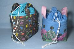 Fabric Basket with a Drawstring Top TUTORIAL. How to add a drawstring top to a fabric basket. ~ Threading My Way Drawstring Bag Pattern, Drawstring Bag Tutorials, Drawstring Bags, Easy Sewing Projects, Sewing Tutorials, Sewing Ideas, Fabric Boxes, Fabric Basket, Packaging
