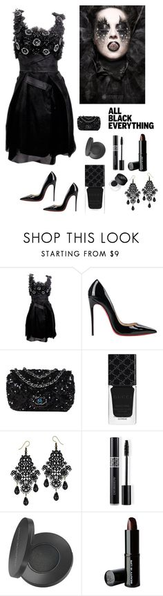 """""""Black Magic Woman"""" by kotnourka ❤ liked on Polyvore featuring Carolina Herrera, Christian Louboutin, Chanel, Gucci, Christian Dior, Youngblood, Beauty Is Life and NARS Cosmetics"""