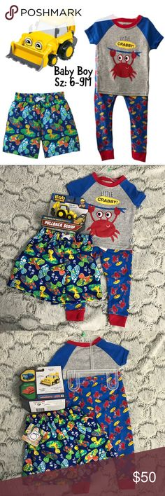 💫NWT🍁Fall Baby Boy Sz: 6-9M Mix/Match 4Piece Set New baby boy Sz: 6-9M Mix And Match 4Piece Set includes: 1 6-9M Boy shorts, 1 Bob the builder toy and 1 2Piece Crabby Pajama Set.  All brand new w Tags and in Box.  Priced to sell... do not low ball. Accessories