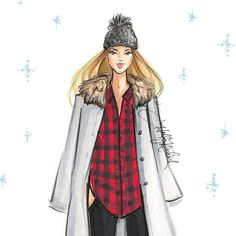 """""""Cozied up in my @salemstyle hat ❄️ #fashionsketch #fashionillustrator #fashionillustration #newengland #boston #bostonblogger #fashionart #copicart…"""""""