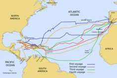 The routes of the four Voyages of Christopher Columbus, from 1492 to 1504. By Phirosiberia in 2009 (Wikimedia)