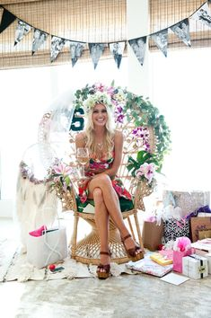 Home Interior Diy Top 20 Tropical Bridal Shower Ideas Bridal Shower Chair, Luau Bridal Shower, Garden Bridal Showers, Beach Bridal Showers, Tropical Bridal Showers, Bridal Shower Decorations, Bridal Shower Gifts, Bridal Shower Outfits, Outside Bridal Showers