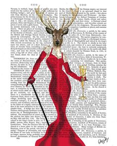 Glamour Deer Red Deer Print Red Cocktail Dress by FabFunky on Etsy, $15.00