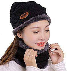 Lanzom 2 Pcs Kids Boys Girls Hat and Scarf Set Warm Winter Snow Knit Beanie Slouchy Skull Cap Circle Scarf