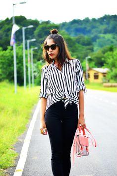 Striped Shirt with high waist denims