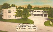VINTAGE VINSON MOTEL POSTCARD - LUFKIN, TX -