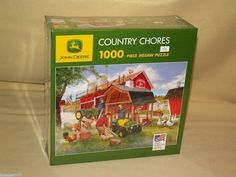JOHN DEERE TRACTOR JIGSAW PUZZLE COUNTRY CHORES ZOLAN NEW 2007 1000 PCS FARM #GreatAmericanPuzzleFactory